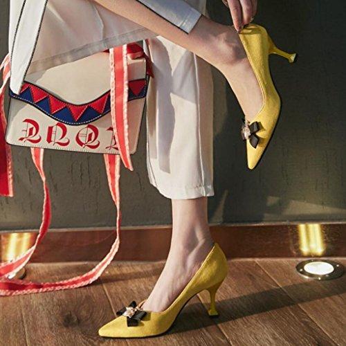 GAOLIXIA de verano de Primavera tacones tacón acentuadas mujeres Bombas encantadoras Yellow ante altos Shoes sandalias Court alto las Rhinestone de RgvfRr