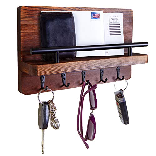 Dahey Wall Mounted Mail Holder Wooden Mail Sorter Organizer with 4 Key Hooks and A Floating Shelf Rustic Home Decor for Entryway or Mudroom,Brown
