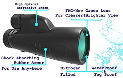 High Powered Monocular 12x50 HD Scope with Smartphone Adapter. ONE Hand Focus Compact Telescope. Waterproof, Fog Proof. For Bird Watching, Traveling, Tactical, Hunting, Wildlife, Fishing