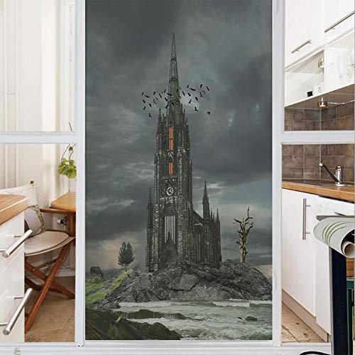 Decorative Window Film,No Glue Frosted Privacy Film,Stained Glass Door Film,Mystery Gothic Castle Edinburgh Darkness Dramatic Sky Clouds Bat Old Building,for Home & Office,23.6In. by ()