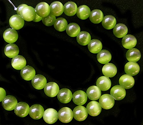TheTasteJewelry 10mm Round Moss Green Cat Eye Beads 15 inches 38cm Jewelry Making Necklace (Round Green Cats Eye)