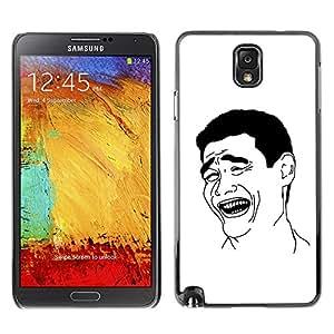 Paccase / SLIM PC / Aliminium Casa Carcasa Funda Case Cover para - Man Laughing Smile Art Black White Irony Quote - Samsung Note 3 N9000 N9002 N9005