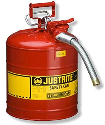 """Justrite 7250130 Galvanized Steel, AccuFlow Type II Red Safety Can with 1"""" Flexible Spout, Large ID zone, Meets OSHA & NFPA For Handling Hazardous liquids. 5 Gallon (19L) Size."""