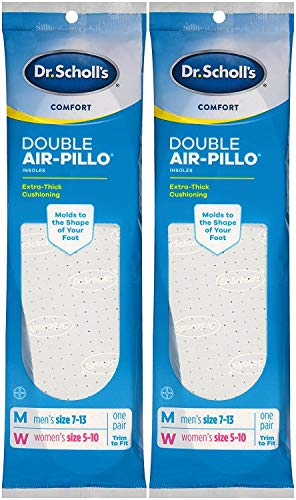Dr. Scholls Double Air-Pillo Insoles Unisex (Men 7-13 / Women 5-10) (2 Pack)