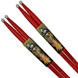 "Red drumsticks 5a pack: 2 pairs (4 sticks) of 5a drum sticks. Drumsticks red in color completely. Red drum sticks solid hickory wood. 5a red drumsticks 16"". (Nylon Tip)"