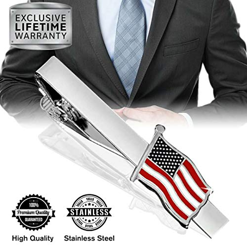 MGStyle Tie Clip, Mens Tie Bar, Men's Silver Tie Clips for Men, American Flag Skinny Tie Bars for Ties Neckties, The Stars and Stripes Metal Tie Tack Pin Pinch Clasp, ()