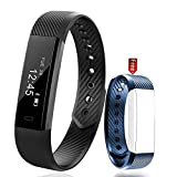 PINGKO Fitness Tracker - Waterproof Activity Tracker Wearable Pedometer Step Counter Watch Portable Call Reminding Sleep Monitor Calorie Counter with Touch Screen Smart Wristband for Android iOS Phone