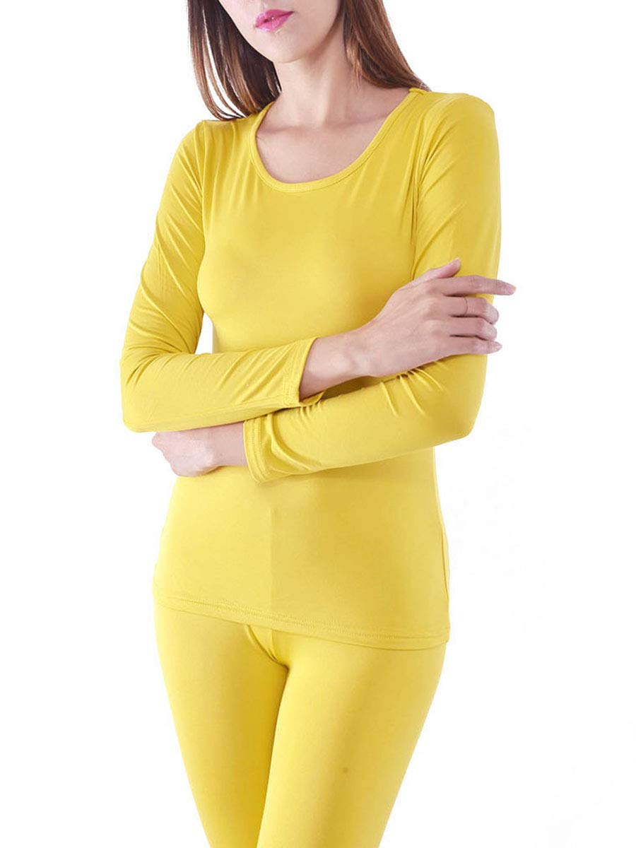 Women's Microfiber Fleece Thermal Underwear Long Johns AZ 2000 Yellow XL