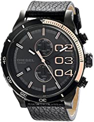 Diesel Mens DZ4327 Double Down Series Analog Display Analog Quartz Black Watch