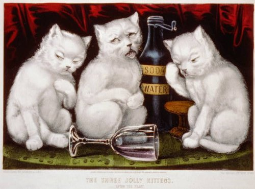 Photo: Three jolly kittens: after the feast,soda water,wine glass,c1871,Currier & (Currier & Ives Glass Print)