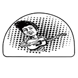 YOLIYANA Bob Dylan Decor Half Circle Rug,Pop Art Cartoon Style Musician Playing Guitar Folk Music Singer Icon Decorative Door Mat,11.8' H x 23.6' L
