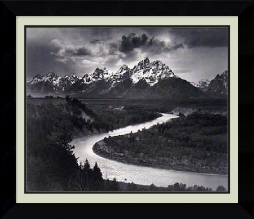 Framed Art Print, 'The Tetons and the Snake River, Grand Teton National Park, Wyoming, 1942' by Ansel Adams: Outer Size 26 x 22'' by Amanti Art