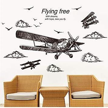 3D Etiqueta De La Pared Estilo De Dibujo A Mano Alzada Vinilo Aeroplano DIY Aves Calcomanías De Pared para Sala De Estar Dormitorio Decoración: Amazon.es: Hogar