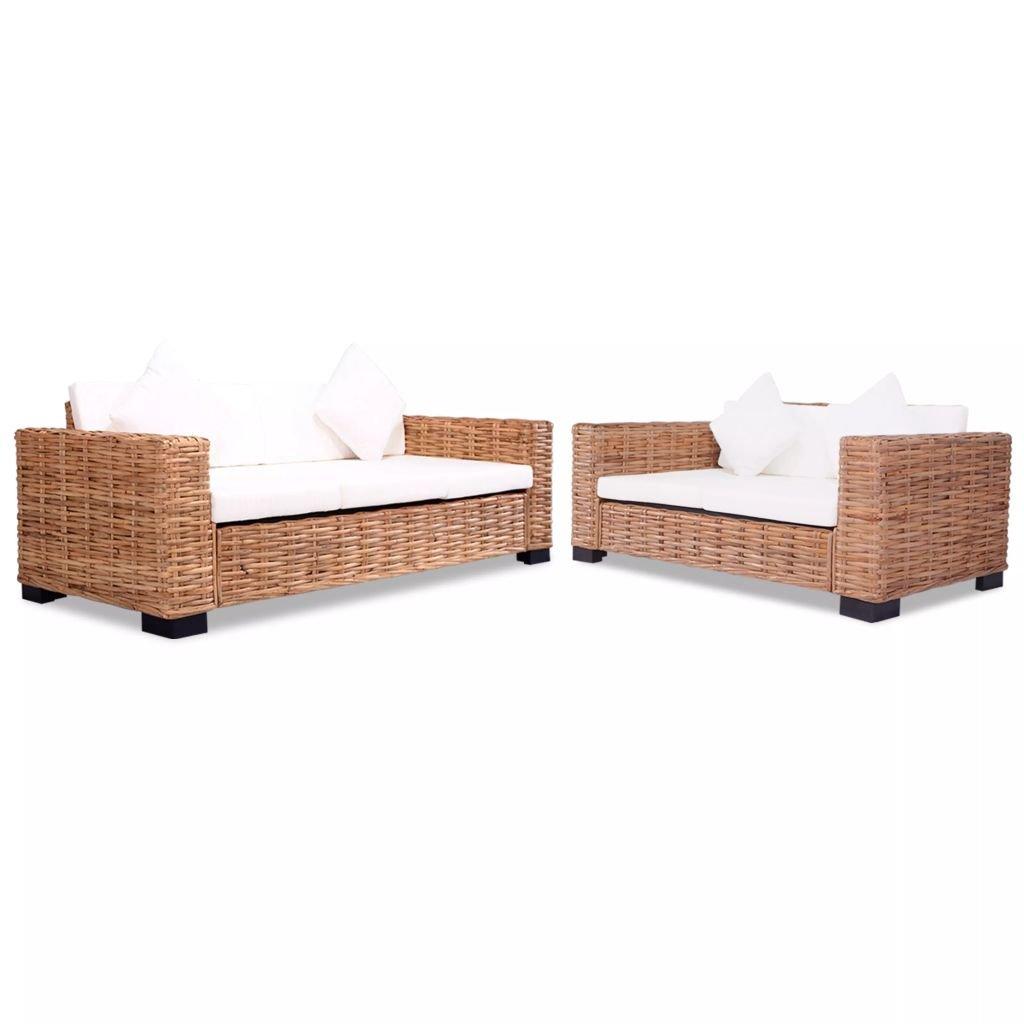 Festnight Lounge Sofa Gartensofa Gartenmöbel 15-TLG. Rattan Natur
