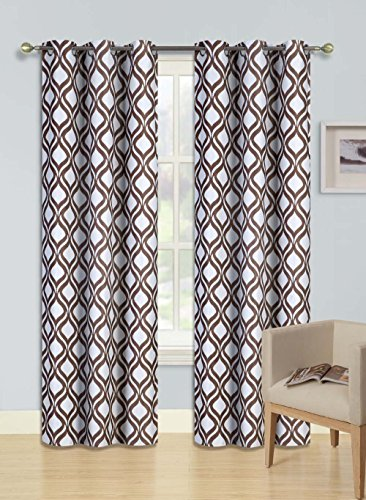 Gorgeous Home (F1)DIFFERENT COLORS & SIZES 2PC PANELS SWIRL DOTS PATTERN PRINTED THERMAL FOAM LINED BLACKOUT HEAVY THICK WINDOW CURTAIN DRAPES SILVER GROMMETS (BROWN, 84