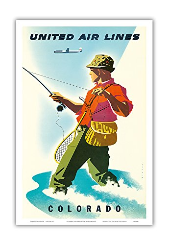 Colorado - United Air Lines - Fisherman, Fly Fishing - Vintage Airline Travel Poster by Joseph Binder c.1950s - Master Art Print - 12in x 18in