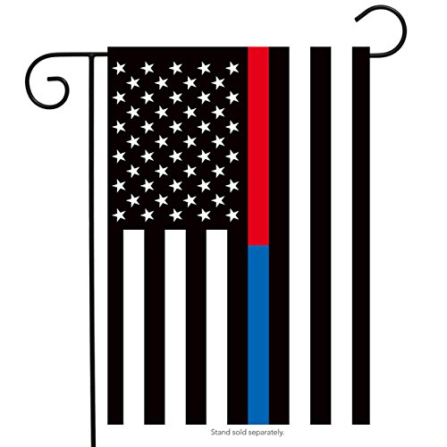 Thin Blue & Red Line Garden Flag Police Firefighter Patrioti