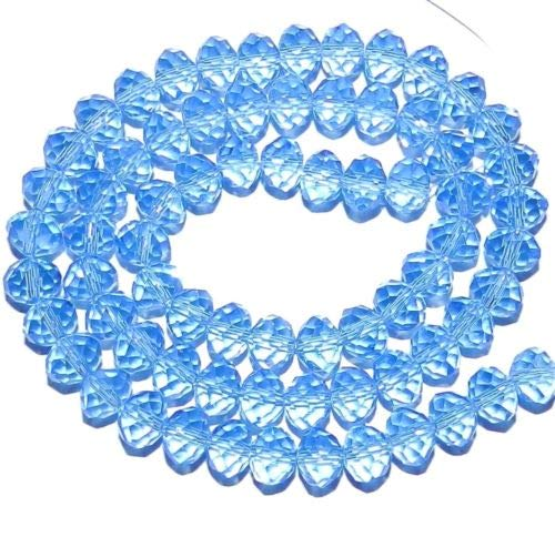 CR247 Light Sapphire Blue 6mm Rondelle Faceted Cut Crystal Glass Bead 16'' Crafting Key Chain Bracelet Necklace Jewelry Accessories Pendants