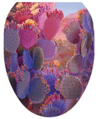 Toilet Tattoos, Toilet Seat Cover Decal, Desert Creations Cactus, Size Elongated