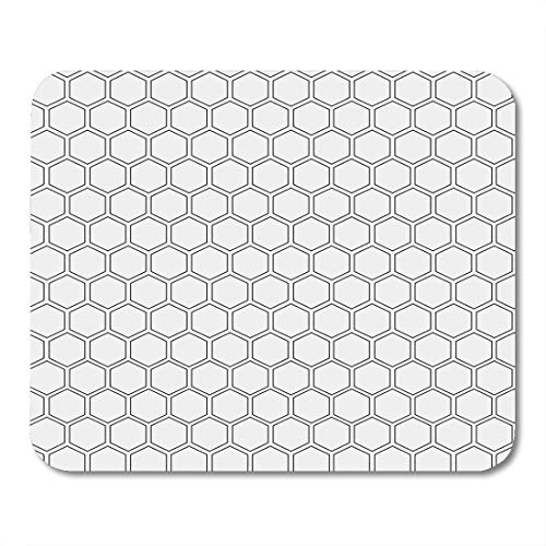 (Emvency Mouse Pads Geometric Abstract Minimalistic Black and White Pattern Hexagon Shape Polygon Mouse pad 9.5