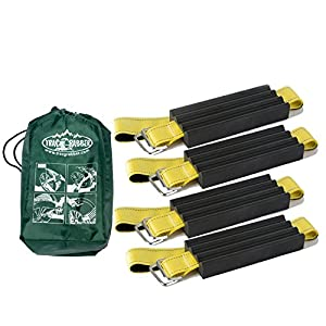 "Trac-Grabber - The ""Get Unstuck"" Traction Solution for Trucks/SUV's - Emergency Rescue Device, Prevents Slipping in Snow, Sand & Mud - Chain or Snow Tire Alternative (Set of 4 Blocks & Straps)"