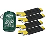 Trac-Grabber - The ''Get Unstuck'' Traction Solution for Trucks/SUV's - Emergency Rescue Device, Prevents Slipping in Snow, Sand & Mud - Chain or Snow Tire Alternative (Set of 4 Blocks & Straps)