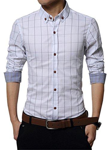 XTAPAN Men Casual Slim Fit Plaid Flannel Fashion Button Up Dress Shirt White 4XL ()