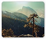 Ambesonne Yosemite Mouse Pad, Yosemite National Park From the Top of Mountain Misty Morning Landscapes Photo, Standard Size Rectangle Non-Slip Rubber Mousepad, Teal Brown