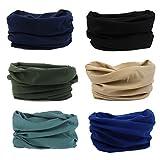 6 Pack Outdoor Magic Headband Elastic Seamless Bandana Neck Scarf Balaclava UV Resistence Sport Headwear Headwrap Versatile 16-in-1 Sweatband Tube Mask for ATV/UTV Riding, Off Roader, Biker, Yoga