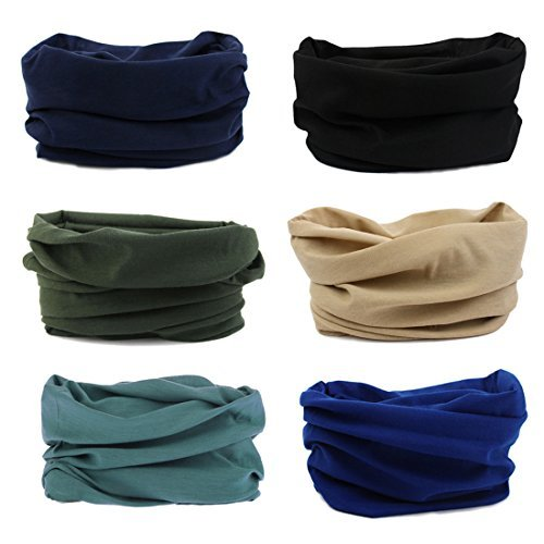 Price comparison product image 6 Pack Outdoor Magic Headband Elastic Seamless Bandana Neck Scarf Balaclava UV Resistence Sport Headwear Headwrap Versatile 16-in-1 Sweatband Tube Mask for ATV / UTV Riding,  Off Roader,  Biker,  Yoga