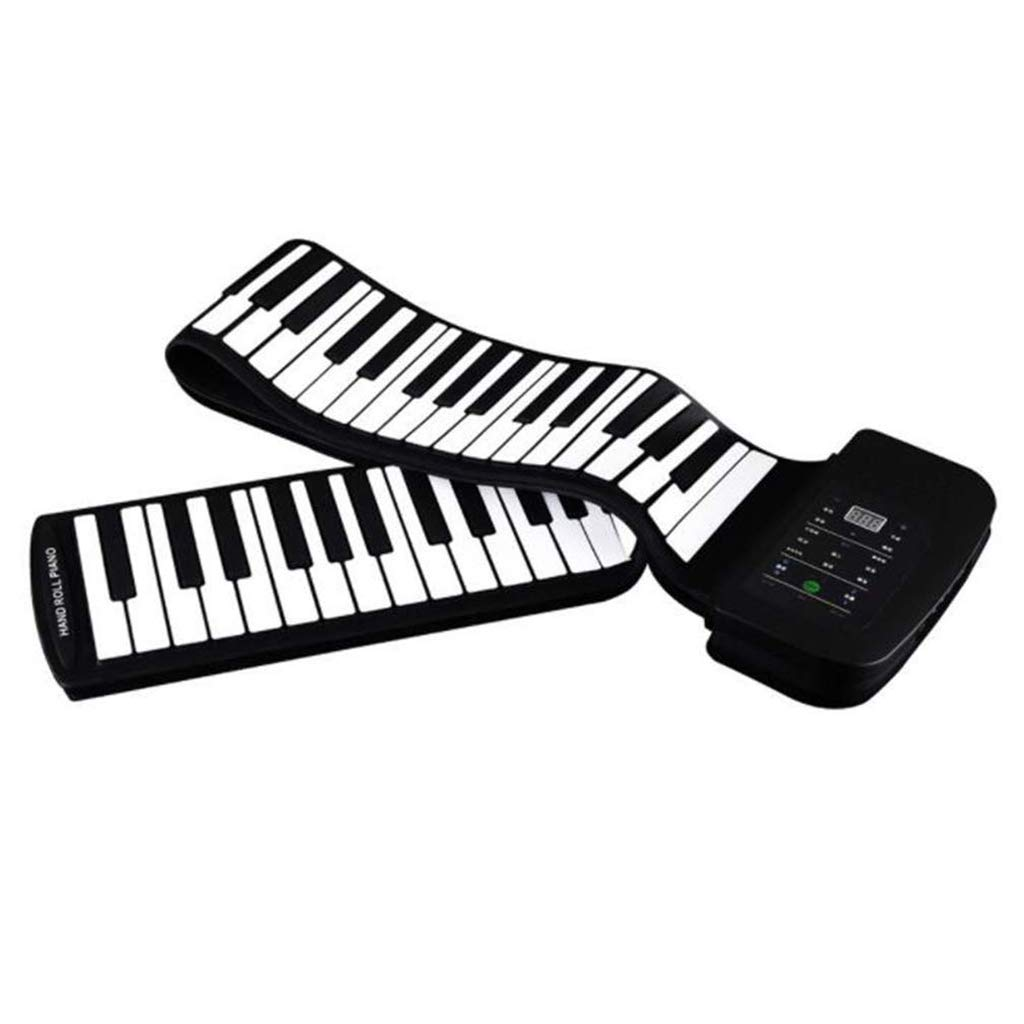 New Foldable Piano Portable Piano 88 Keys Roll Up Piano Keyboard Silicone Flexible Keyboard Foldable Sustain Pedal Rechargeable 1000Ma Lithium Battery,Black