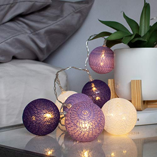 LuxLumi Shades of Ultra Violet Purple Cotton Ball 10 LED Indoor String Lights Battery Operated & Included for Bedroom Dorm Kids Room Decor Teen Girl Home Party Kitchen Baby & Bridal Shower
