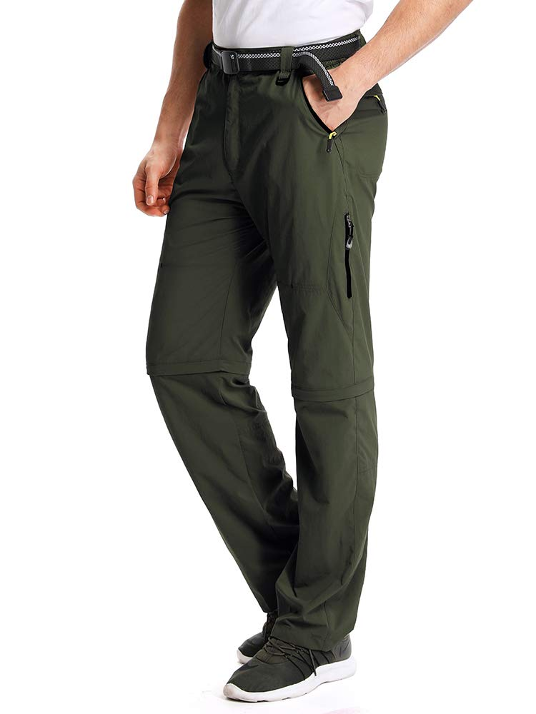 Mens Hiking Pants Adventure Quick Dry Convertible Lightweight Zip Off Fishing Travel Mountain Trousers #M1111/Army Green/US 32 by Toomett