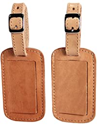Luggage Tag Genuine Leather Travel ID Tags with Adjustable Leather Strap, Address Card and Privacy Cover, Tan, Set of 2