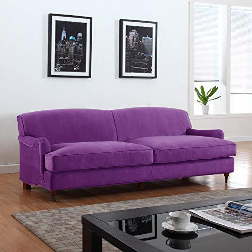 Etonnant Mid Century Modern Sophisticated Large Brush Microfiber Sofa With Casters  (Purple)