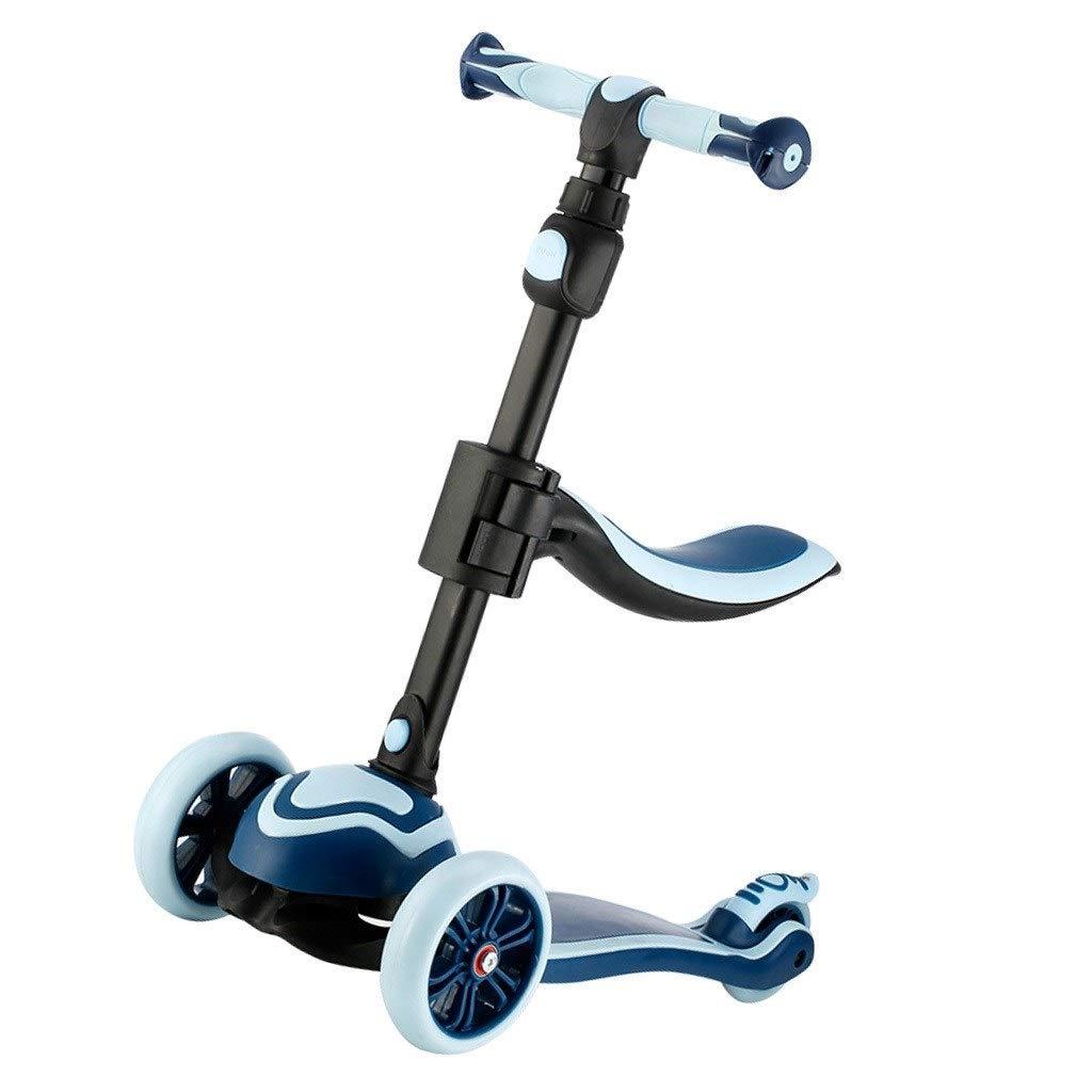 スケートボード スケートボード折りたたみスクーター子供3輪スクーター男の子と女の子は3-6-9歳のスリッパギフトを座ることができます (Color : 青, Size : 62*28*88cm) 青 62*28*88cm
