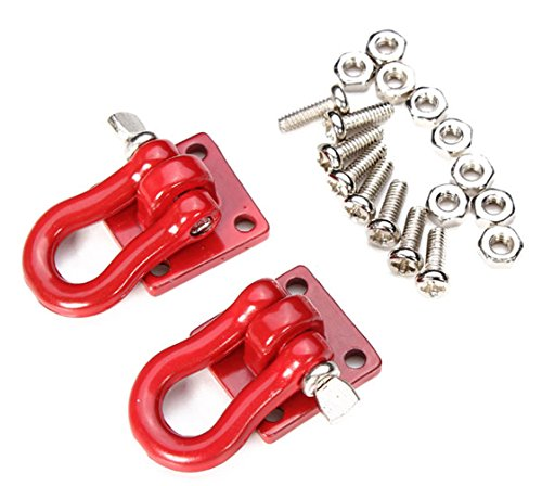 LAFEINA 2PCS Trailer Towing Buckle Tow Hooks D Shackles for 1/10 RC Car Truck Climbing Car (Red)