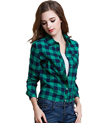 [Tanming Women's Long Sleeve Fashion Plaid Shirts (Medium, green)] (Green Plaid Flannel Shirt)