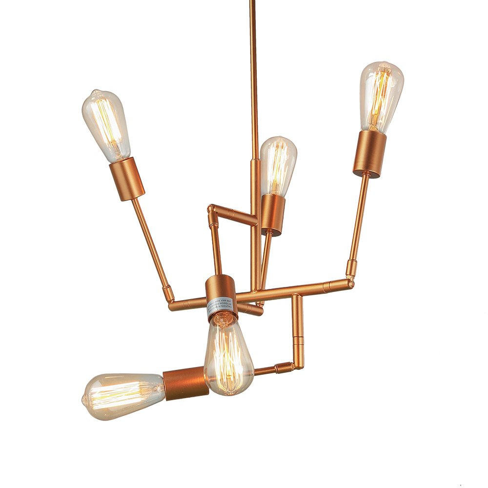 Laluz 5 Light Geometric Pendant Lighting Modern Chandeliers How To Wire A Chandelier Diagram Likewise Wiring