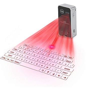 ASHATA Teclado Virtual Bluetooth Inalámbrico,Teclado de Proyección IR,Keyboard USB IR y Ratón