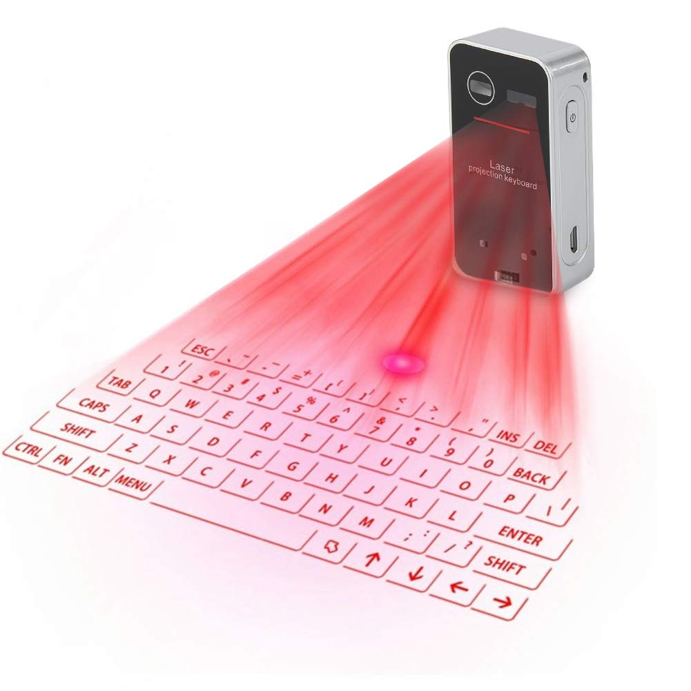 SHANGXIAN Virtual Keyboard Laser Projection Bluetooth Keyboard Ultra-Portable Simple to Use Full English Keyboard,Red
