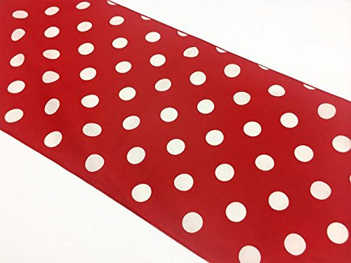 ArtOFabric Decorative Cotton White Polka Dot on Red Print Table Runner.12 X 70