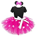 Baby Girls Polka Dot Tulle Princess Dresses Party Outfit Mouse Ears Headband Infant Toddler Carnival Pageant Birthday Ballet Tutu Fancy Dress Up Dance Gymnastic Halloween Cosplay Costume 4 Yeats