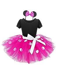 IMEKIS Girls Polka Dot Costume Cosplay Birthday Dress Up + Headbandt Tutu Outfit
