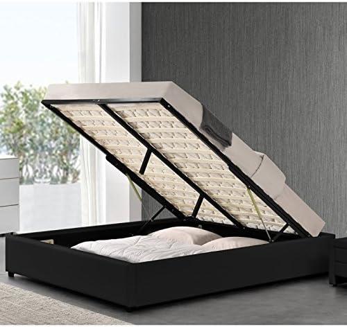 Meubler Design Somier baúl de almacenaje Room, Poliuretano, Negro, 140 x 190 cm