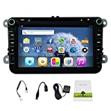 8 Inch Quad Core 2 Din Android 4.4 Kitkat Car DVD Player GPS Navigation Stereo Head Unit Radio for Vw Volkswagen Polo Golf Passat B5 B6 B7 Jetta Tiguan Touran Amark Sharan Caddy Bora Eos Cc Scirocco Skoda Octavia Superb Rapid Yeti Fabia Hd Capacitive Touch Screen Support Steering Wheel/bluetooth/obd2/dvr/3g/av-in/1080p free 8GB USB disk