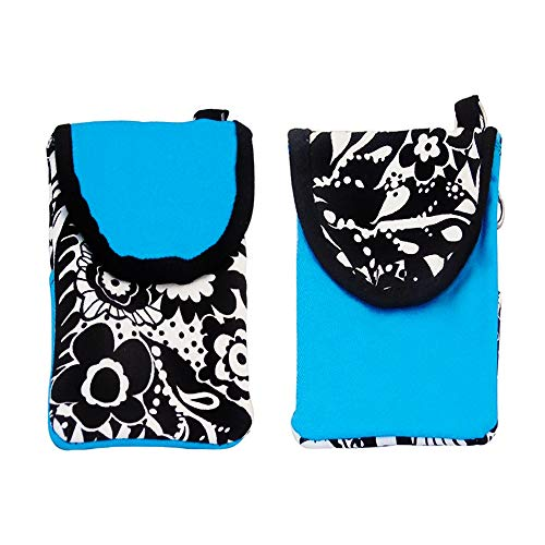 (Matching Pair of Pick-A-Pocket Purses - For Phone, Cigarettes, Money, Make-Up - Blue with Flowers.)