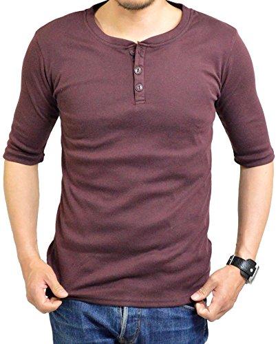 読書ピッチャーぐるぐるアダマス ヘンリーネック 五分袖 Tシャツ 半袖 無地 メンズ