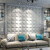 WEDECOR Decorative Anti-shock Soundproofing Carved Faux Leather tile, Soft 3D Wall Panels(Pack of 20) 40x40cm34.44 Sq Ft Pillow (Matte White)