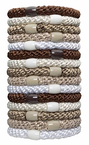 L. Erickson Grab & Go Ponytail Holder, Light Gold Metallic, Set of Fifteen - Exceptionally Secure with Gentle Hold
